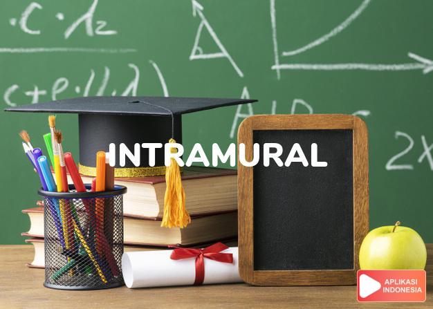 arti intramural adalah ks.  Acad.: didalam sekolah/gedung.  diantara di dalam Terjemahan Kamus Bahasa Inggris Indonesia Indonesia Inggris by Aplikasi Indonesia
