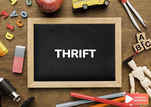 arti thrift adalah kb. hemat, penghematan, sifat berhemat. dalam Terjemahan Kamus Bahasa Inggris Indonesia Indonesia Inggris by Aplikasi Indonesia