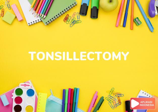 arti tonsillectomy adalah kb. (j. -mies) pembedahan/operasi amandel. dalam Terjemahan Kamus Bahasa Inggris Indonesia Indonesia Inggris by Aplikasi Indonesia