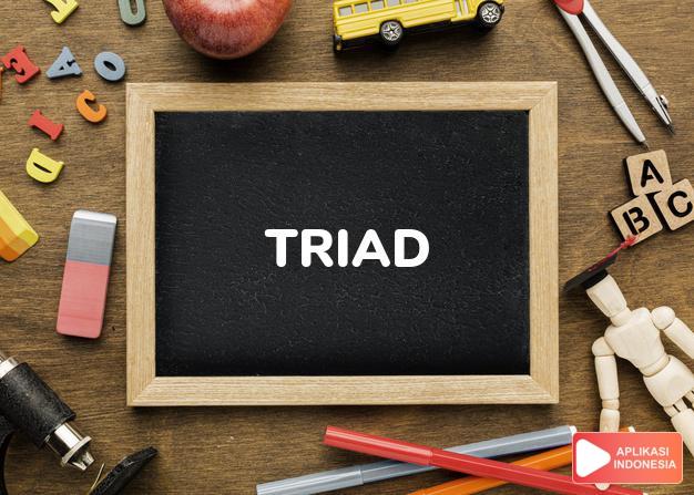 arti triad adalah kb. tritunggal, tiga serangkai. dalam Terjemahan Kamus Bahasa Inggris Indonesia Indonesia Inggris by Aplikasi Indonesia