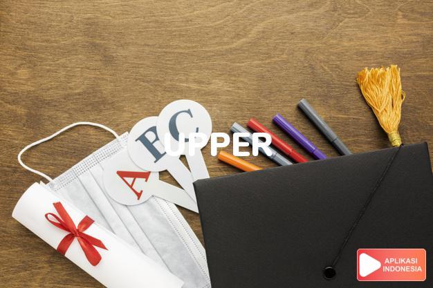 arti upper adalah kb.   RR.: tempat tidur diatas.   sol sepatu lap dalam Terjemahan Kamus Bahasa Inggris Indonesia Indonesia Inggris by Aplikasi Indonesia
