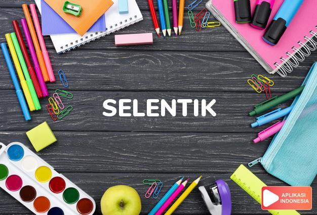 arti selentik adalah see  SLENTIK. dalam Terjemahan Kamus Bahasa Inggris Indonesia Indonesia Inggris by Aplikasi Indonesia